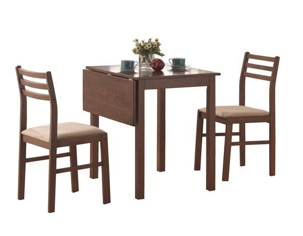 "63"" x 66.5"" x 95"" Walnut Beige Solid Wood Foam Polyester Blend 3pcs Dining Set"