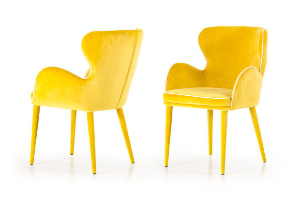 """33"""" Yellow Fabric and Metal Dining Chair"""