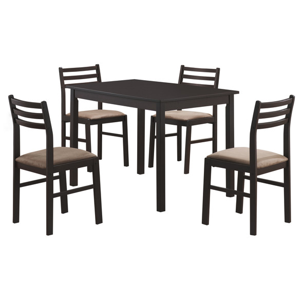 """62.5"""" x 74.75"""" x 94.75"""" Cappuccino Beige Solid Wood Foam Polyester Blend 5pcs Dining Set"""