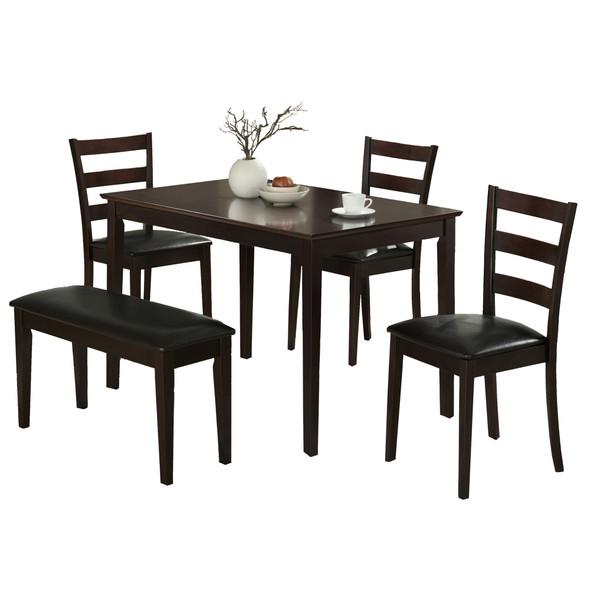 "69.5"" x 81.5"" x 99"" Cappuccino Black Solid Wood Foam Veneer Leather Look 5pcs Dining Set"
