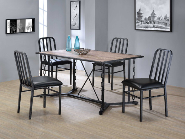 """23"""" X 19"""" X 37"""" 2pc Black Pu And Antique Black Side Chair"""