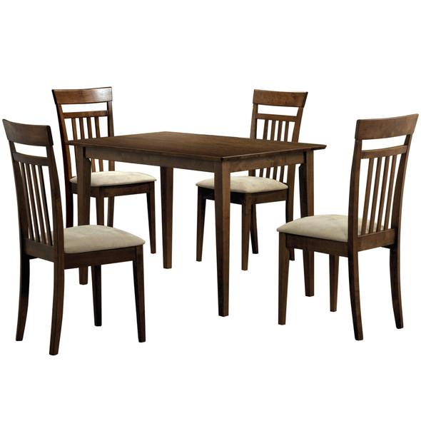 """69.5"""" x 81.25"""" x 107"""" Walnut Beige Solid Wood Foam Veneer Microfiber 5pcs Dining Set"""
