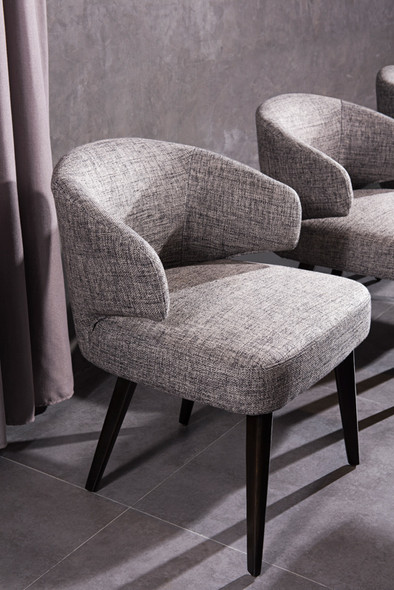 """31"""" Grey Fabric Dining Chair with Wood Legs"""