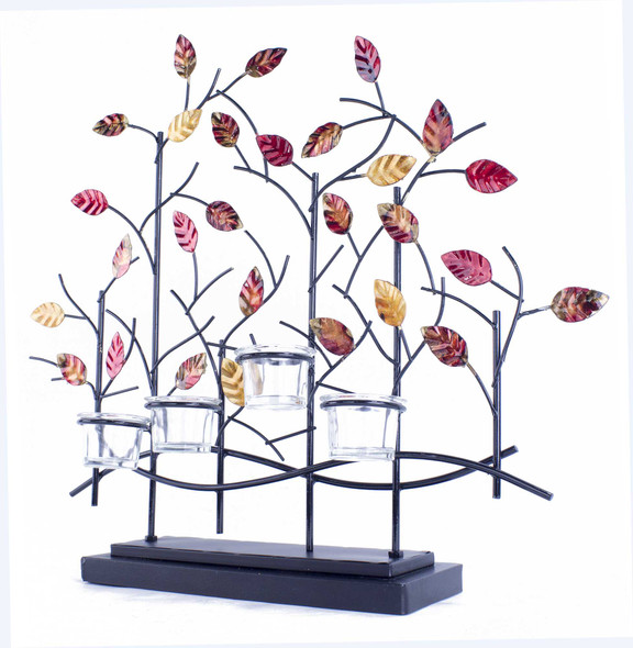 """22.5"""" X 5"""" X 25.5"""" Copper Red And Gold Metal Tree Foiled And Lacquered Votive Holder"""