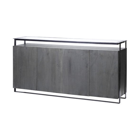 Glass Top Gray 4 Solid Wood Cabinets Metal Frame Sideboard