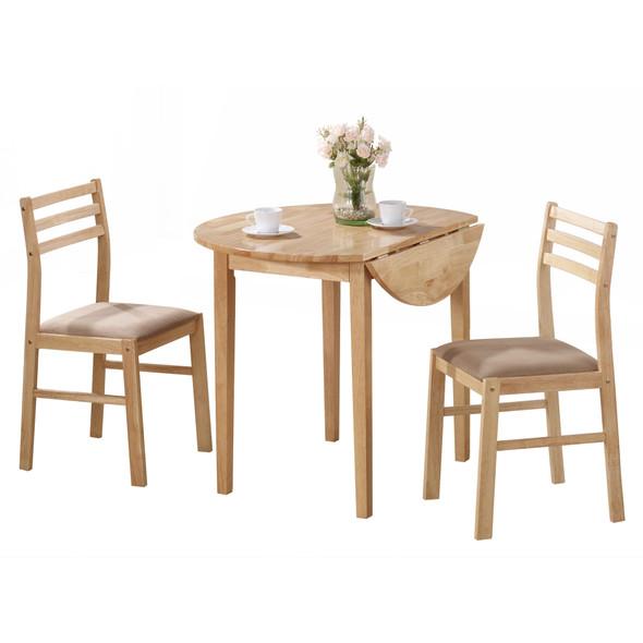 "68"" x 66.5"" x 95"" Natural Beige Foam Solid Wood Polyester Blend 3pcs Dining Set"