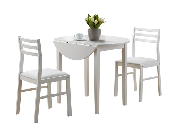 """68"""" x 66.5"""" x 95"""" White Foam Solid Wood Leather Look 3pcs Dining Set"""