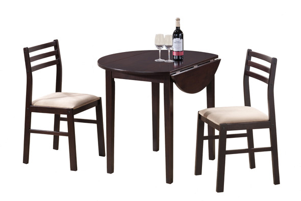 """68"""" x 66.5"""" x 95"""" Cappuccino Beige Foam Solid Wood Polyester Blend 3pcs Dining Set"""
