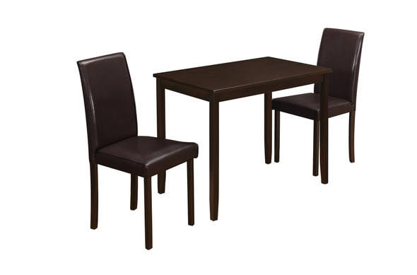 "68"" x 75"" x 102"" Cappuccino Solid Wood Foam Veneer LeatherLook 3pcs Dining Set"