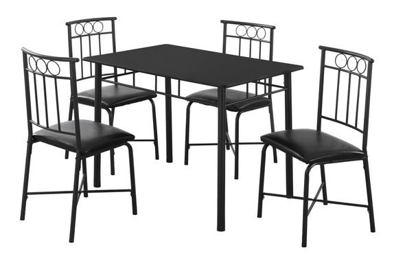 "61.5"" x 73.5"" x 101"" Black Metal Foam Polyurethane Leather Look Polyes 5pcs Dining Set"