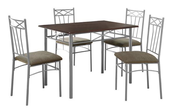 "60"" x 76"" x 102"" Cappuccino Silver Foam Metal Linen 5pcs Dining Set"