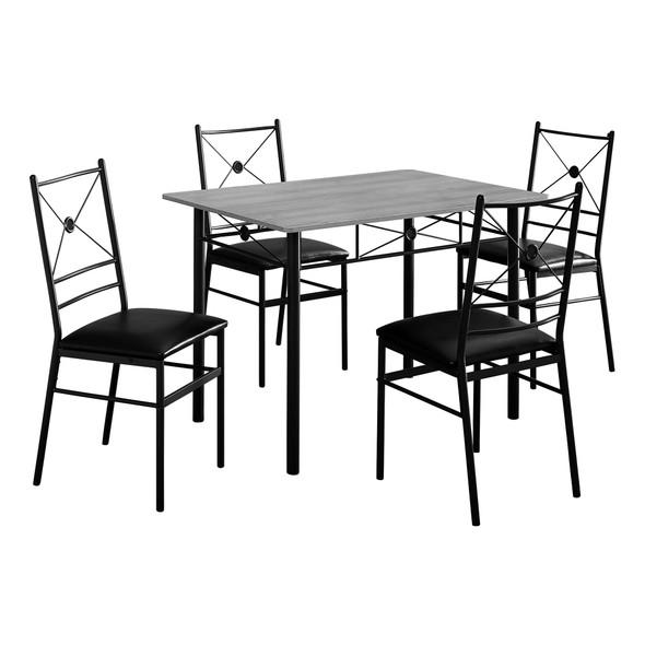 """63"""" x 76"""" x 102"""" Grey Black Foam Metal 5pcs Dining Set"""