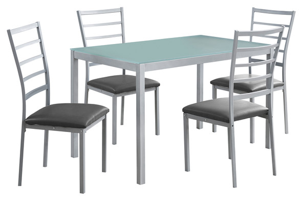"""72"""" x 82.5"""" x 105"""" Silver Grey Metal Foam Tempered Glass Leather Look 5pcs Dining Set"""