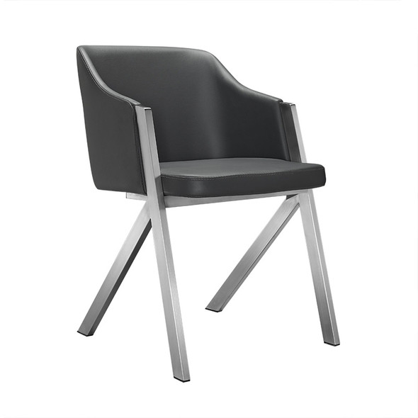 """Two 29"""" Grey Leatherette and Steel Dining Chairs"""