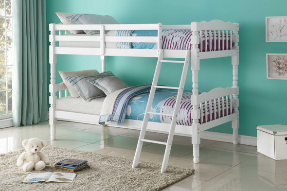 """81"""" X 43"""" X 60"""" Twin Over Twin White Pine Wood Bunk Bed"""
