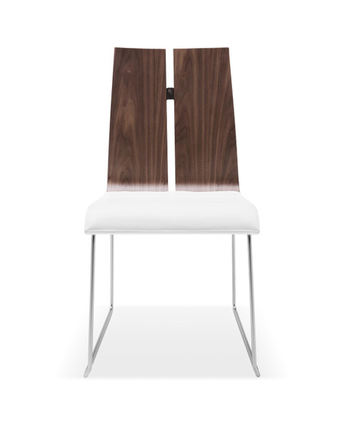 """20"""" X 22"""" X 35"""" Natural Walnut or White Faux Leather or Metal Dining Chair"""