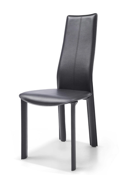 Set of 4 Modern Dining Black Faux Leather Dining Chairs