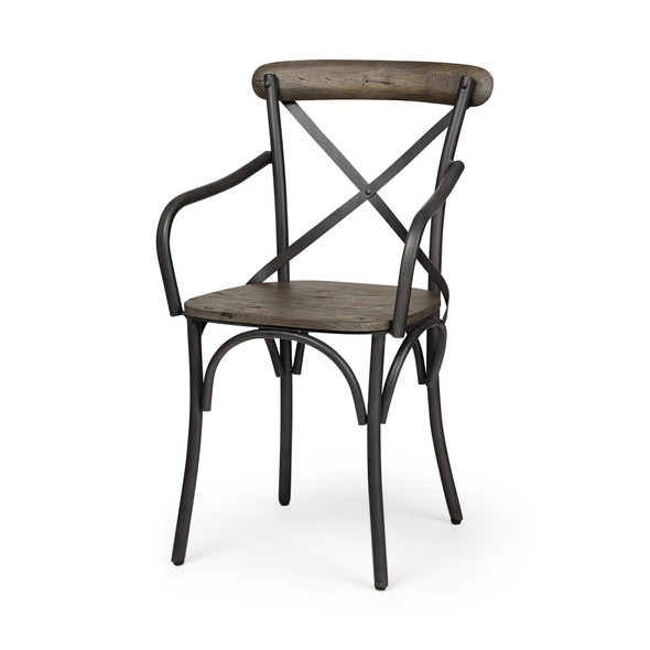 Brown Solid Wood Seat with Grey Iron Frame Dining Chair - 380399