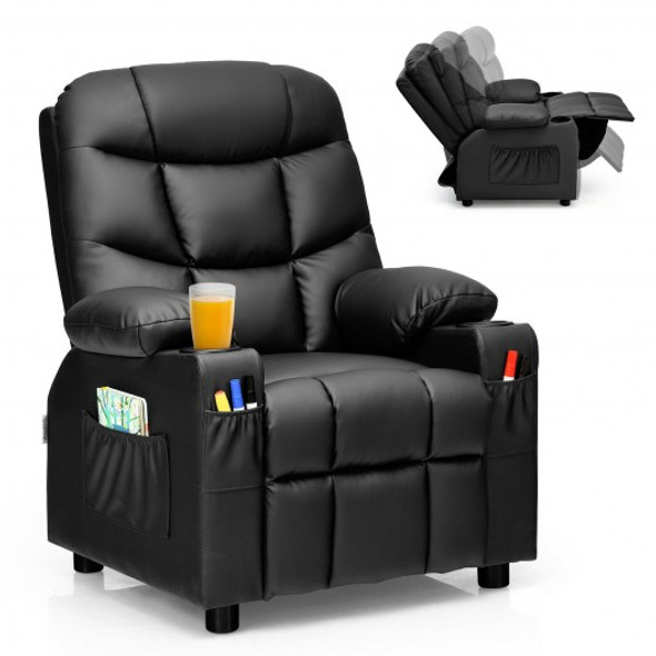 PU Leather Kids Recliner Chair with Cup Holders and Side Pockets-Black