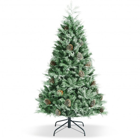6ft Snow Flocked Artificial Christmas Tree with 715 Glitter PE and PVC Tips
