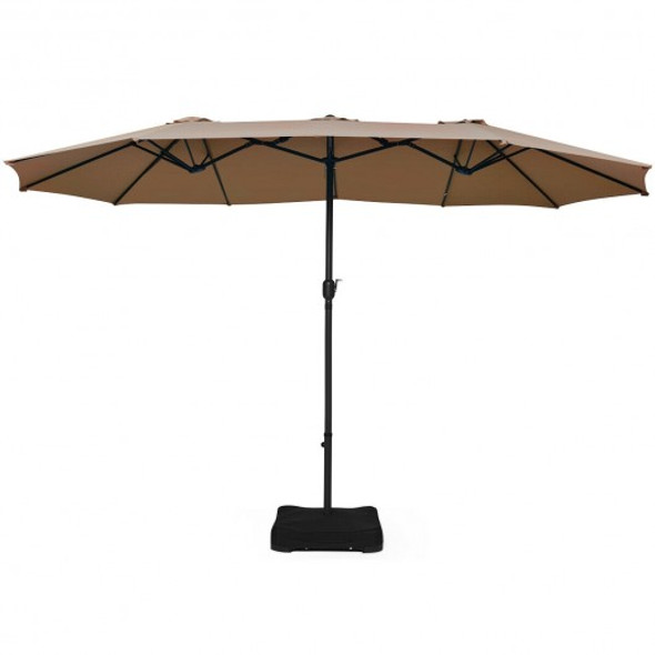 15 Foot Extra Large Patio Double Sided Umbrella with Crank and Base-Tan