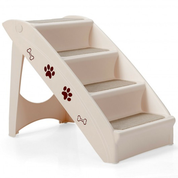 Collapsible Plastic Pet Stairs 4 Step Ladder for Small Dog and Cats-Beige