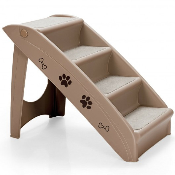 Collapsible Plastic Pet Stairs 4 Step Ladder for Small Dog and Cats-Coffee