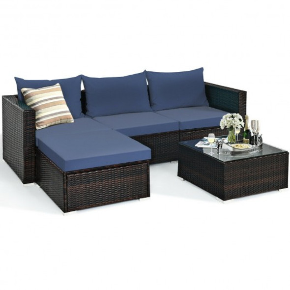 5 Pcs Patio Rattan Sectional Furniture Set with Cushions and Coffee Table -Navy