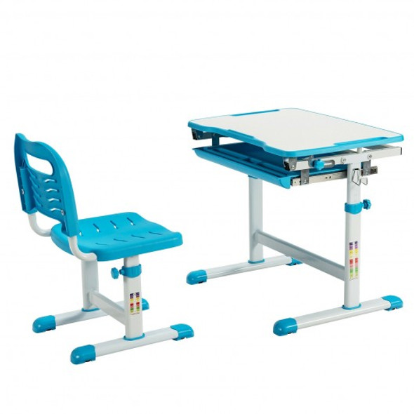 Kids Height Adjustable Desk and Chair Set with Tilted Tabletop and Drawer-Blue