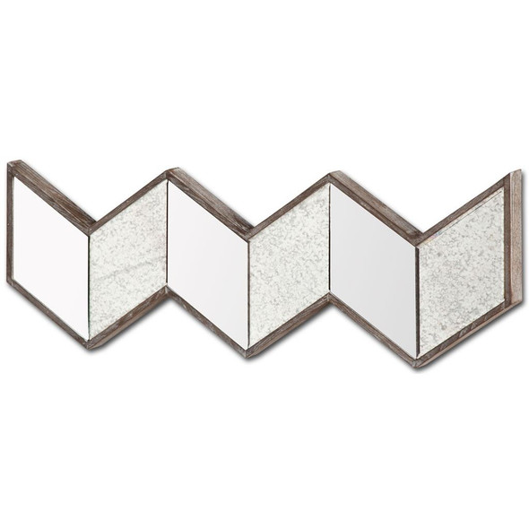 V Shaped Wooden Frame Wall Mirror w/ Clear Glass