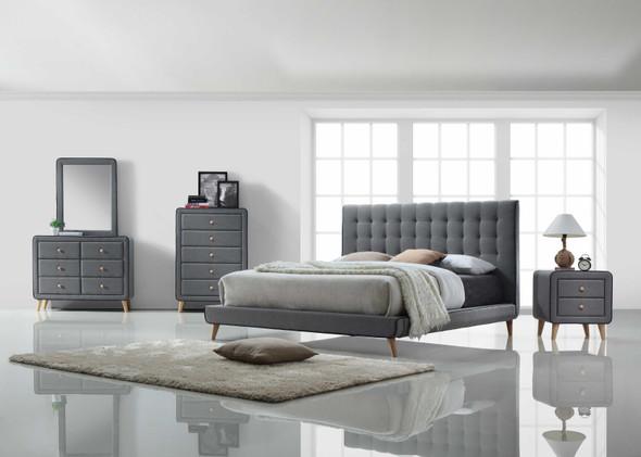 Nightstand , Light Gray Fabric