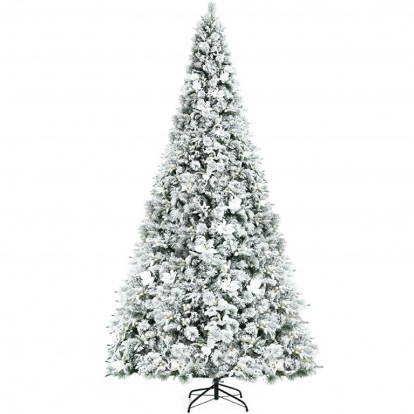 8 ft Snow Flocked Hinged Christmas Tree with Berries and Poinsettia Flowers