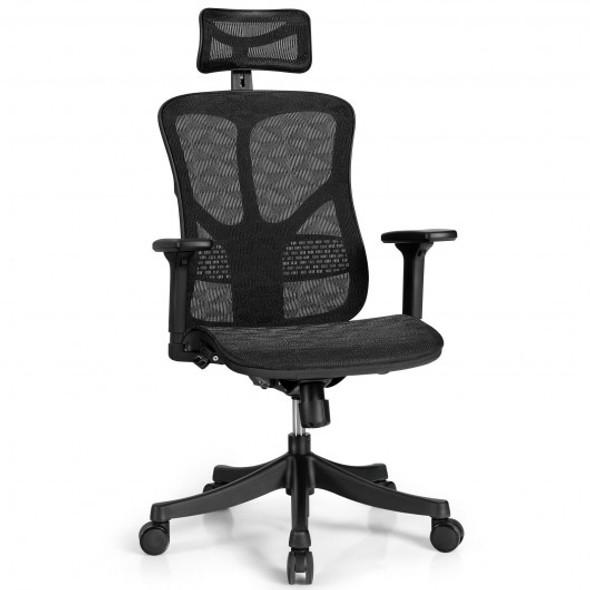 Ergonomic High Back Mesh Adjustable Swivel Office Chair-Black