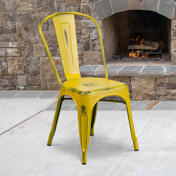 Distressed Yellow Metal Chair