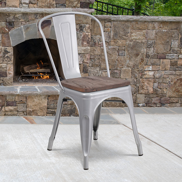 Silver Metal Stack Chair