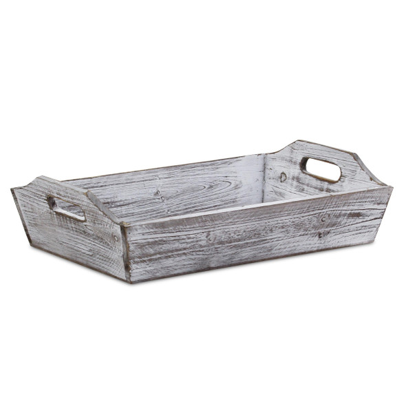 White Rustic Finish Wood Serving Tray with Handles