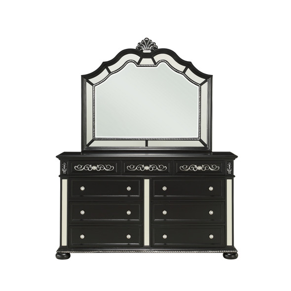 Black Jewel Heirloom Appearance Dresser with Intricate Carvings Mirrored Accents 9 Drawer