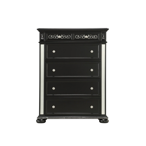 Black Jewel Heirloom Appearance Chest with Intricate Carvings Mirrored Accents 9 Drawer