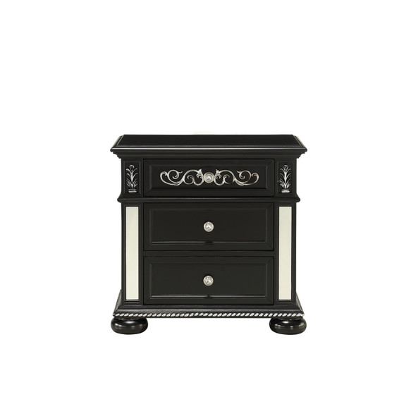 Black Jewel Heirloom Appearance Nightstant with Intricate Carvings Mirrored Accents 2 Drawer