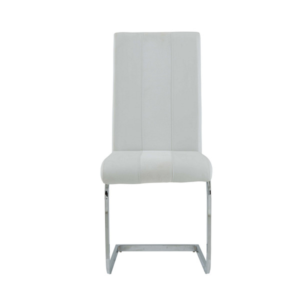 Set of 4 White Two toned Dining Chairs with Silver Tone Metal Base