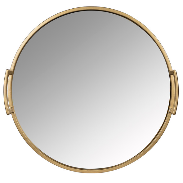 "14"" Gold Round Mirrored Decorative Tray"