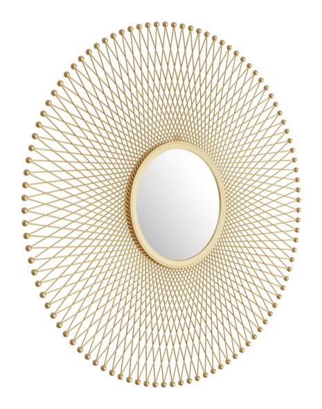 Gold Lattice Round Mirror