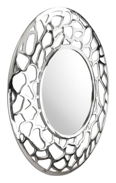 Silver Coral Pattern Round Mirror