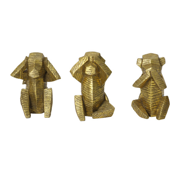 Set of 3 Gold Distressed Wise Monkey Sculptures