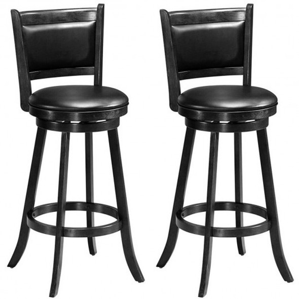 "Set of 2 29"" Swivel Bar Height Stool Wood Dining Chair Barstool-Black"