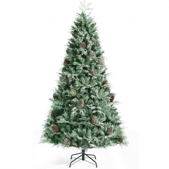 8 ft Snow Flocked Hinged Christmas Tree with 1651 Branch Tips and Pine Cones