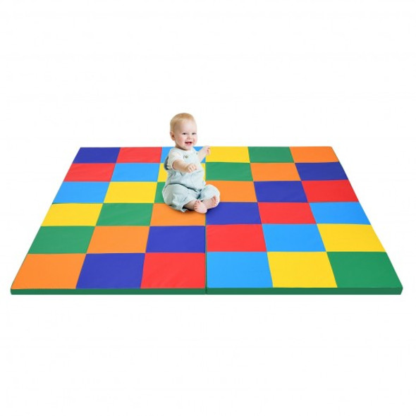 58'' Toddler Foam Play Mat Baby Folding Activity Floor Mat for Home and Daycare School-Multicolor