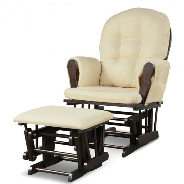 Solid Wood Gliding Chair Set with Pockets and Ottoman for Relaxing-Beige
