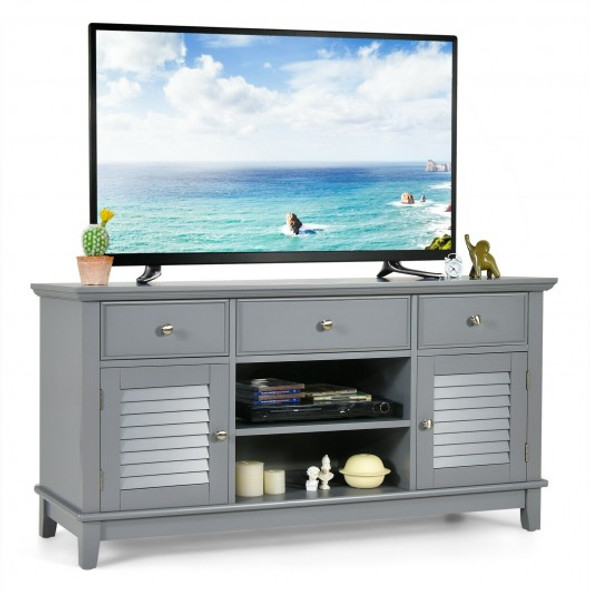 TV Stand Media Console with Drawers Cabinets-Gray