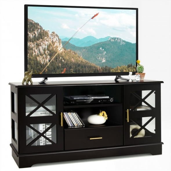 Glass Door TV Stand with Drawer Storage Shelves-Brown